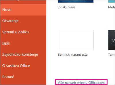 Dodatne informacije potražite na web-mjestu Office.com