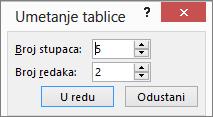 Prikaz dijaloškog okvira Umetanje tablice u programu PowerPoint