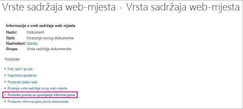Veza na pravilnik o upravljanju informacijama na stranici za vrstu sadržaja web-mjesta