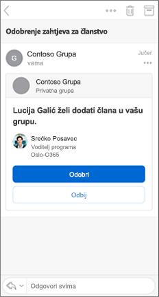 Poruka e-pošte s gumbima za odobravanje i odbijanje