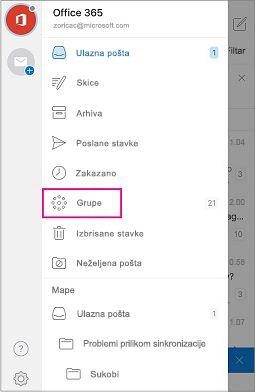 Mapa za grupe u navigacijskom oknu