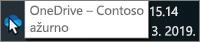 """Snimka zaslona koja pokazuje pokazivač iznad plave ikone aplikacije OneDrive na programskoj traci s tekstom """"OneDrive – Contoso""""."""
