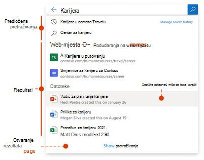 Okvir za pretraživanje zaslona u kojem se prikazuju upit i predloženi Rezultati