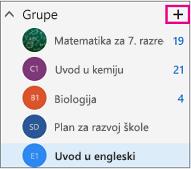 Lijevo navigacijsko okno u programu Outlook na webu s istaknutim gumbom Stvori
