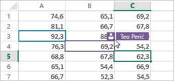 Ćelije u različitim bojama za različite korisnike, pokazivač na ikoni osoba, prikazuje se ime