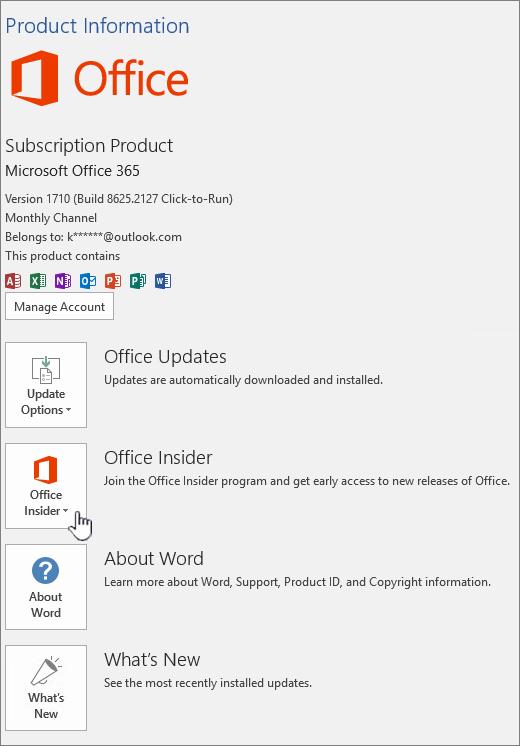 Uključivanje u aplikaciju Office Insider u aplikaciji.