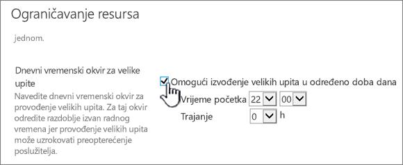 Stranica s postavkama aplikacije Središnja administracija s istaknutom mogućnošću Dnevni vremenski okvir