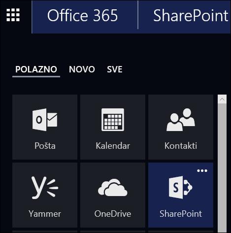 Pločica Web-mjesta u sustavu Office 365