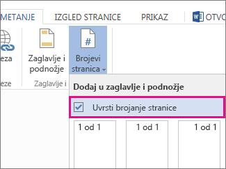 Slika okvira koji valja potvrditi da bi se uz brojeve stranica u dokumentu uvrstio ukupan broj stranica (stranica X od Y).