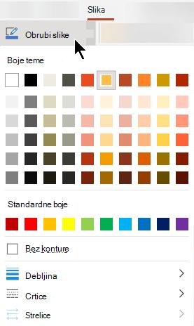 Izbornik obrub slike sadrži mogućnosti za boju, debljinu i stil crte.