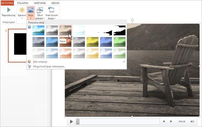 Promjena boje videomaterijala