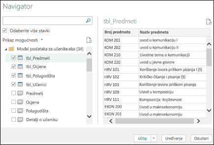 Dohvaćanje & transformacije (Power Query) navigator