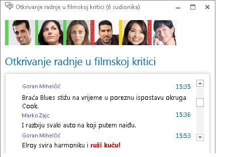 Snimka zaslona s prozorom sobe za razgovor u kojem se prikazuje nova poruka u podebljanom crvenom fontu i s dodanim emotikonom