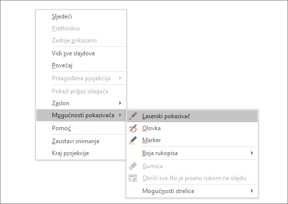 Pokazuje izbornik s mogućnostima pokazivača u programu PowerPoint