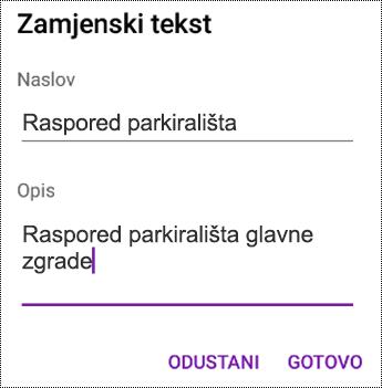 Dodavanje zamjenskog teksta u slike u aplikaciji OneNote za Android