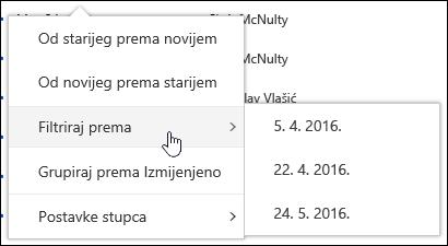 Filtriranje prikaz biblioteke dokumenata u sustavu Office 365