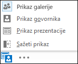 Snimka zaslona s izborom prikaza uz odabran prikaz galerije