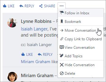Dodatne izbornik u kojem se prikazuje premještanje razgovora