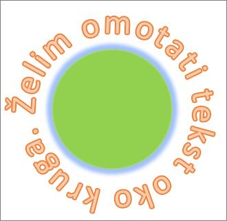tekst zakrivljen oko kružnog oblika
