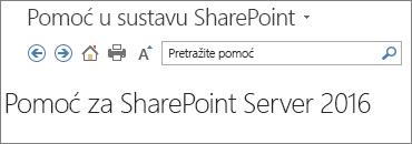 Zaglavlje okna pomoći za SharePoint 2016