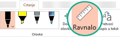 šablona ravnala nalazi se na kartici Crtanje na vrpci u programu PowerPoint 2016.