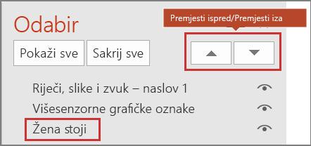 PowerPoint korisničkom sučelju prikazuje stavke u okno za odabir i Premjesti iza Proslijedi/slanje.