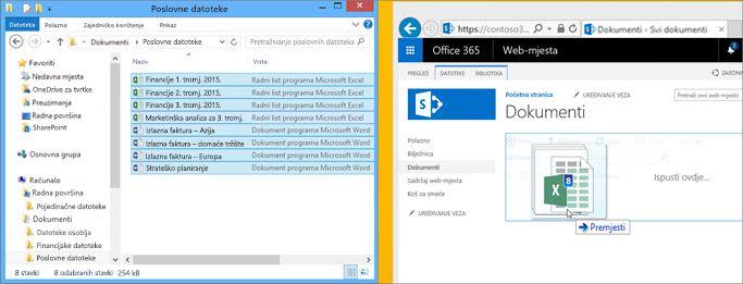 Primjer datoteke prenesene u biblioteku dokumenata na timskom web-mjestu.