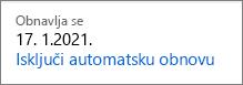Veza za isključivanje autorenew za pretplatu na Office 365 Home.