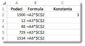 Brojevi u stupcu A, formula u stupcu B sa znakovima $ i broj 3 u stupcu C