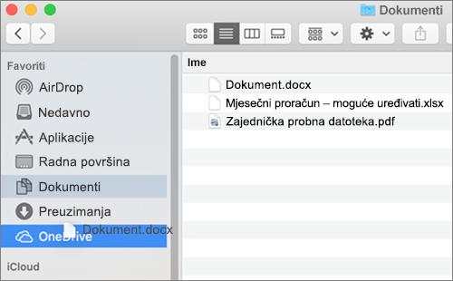 Prozor tražilica za Mac prikazuje povlačenje i ispuštanje za premještanje datoteka