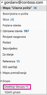 Outlook 2016 navigacijsko okno s grupama istaknuta