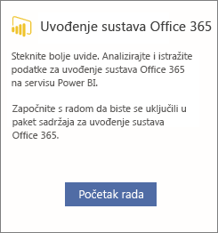 Na kartici Office 365 Adoption odaberite Početak rada