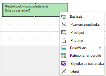 Desnom tipkom miša kliknite da biste izbrisali obveze.