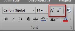 grupa fontova u programu excel