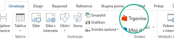 Korištenje gumba Trgovina na kartici Umetanje na vrpci sustava Office radi instalacije dodataka sustava Office