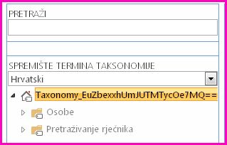 Snimka zaslona prikaza stabla u alatu za upravljanje spremištem termina s prikazanim nazivom taksonomije i podređenim mapama.