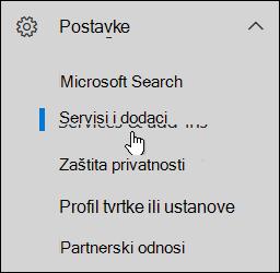 U navigacijskom oknu kliknite ikonu Postavke pa kliknite Servisi i dodaci.