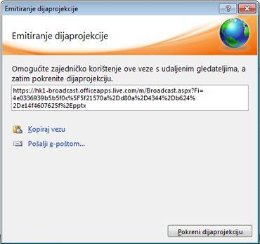 Dijaloški okvir Emitiraj dijaprojekciju s URL adresom dijaprojekcije