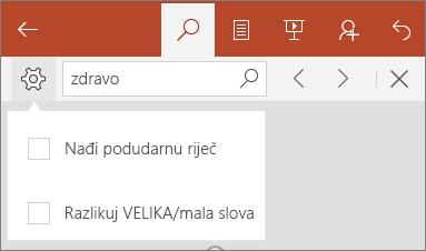Prikazuju se mogućnosti za pretraživanje u aplikaciji PowerPoint Mobile: Velika/mala slova i Match Word.