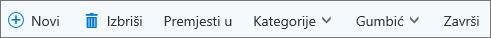 Traka naredbi za zadatke servisa Outlook.com