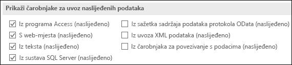 Slika mogućnosti dohvaćanja i čarobnjak za pretvaranje naslijeđen iz datoteke > Mogućnosti > podataka.