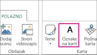 Gumb Oznake karte na kartici Polazno u dodatku Power Map