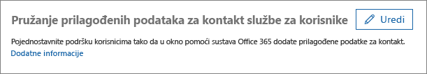 """Snimka zaslona mogućnosti Uređivanje uz mogućnost """"Pružanje prilagođenih podataka za kontakt službe za korisnike"""""""