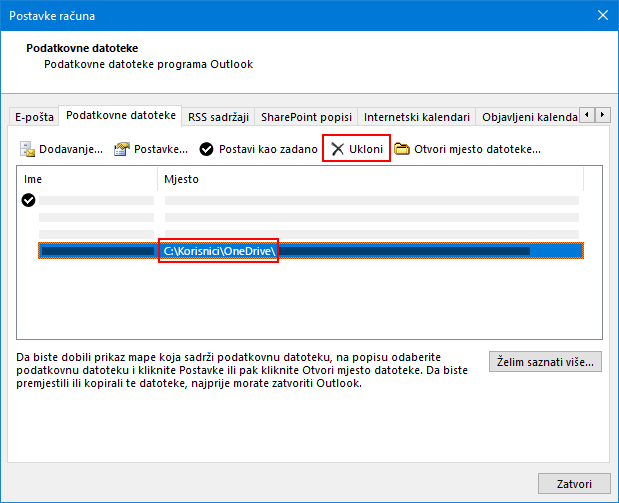 Dijaloški okvir podatkovne datoteke programa Outlook