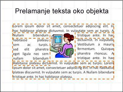 Slajd s umetnutim objektima, prikazanim tekstnim okvirima i dovršenim tekstom.