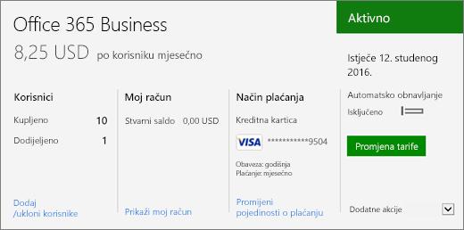 Snimka zaslona s pretplatom na stranici Pretplate centra za administratore sustava Office 365 koja prikazuje koje pretplate imate i njihovo stanje.