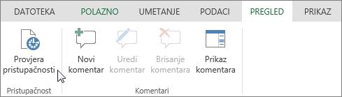 Snimka zaslona kartice Pregled s pokazivačem na mogućnosti Provjera pristupačnosti.