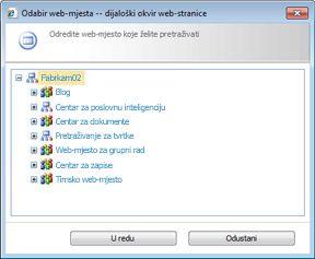 Odabir web-mjesta za pretraživanje zapisa