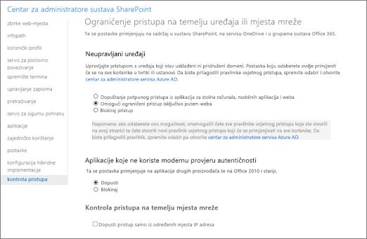 Postavka ograničeni pristup na stranicu za kontrolu pristupa