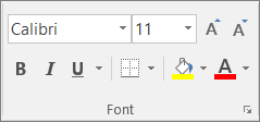 Font group on the Home tab